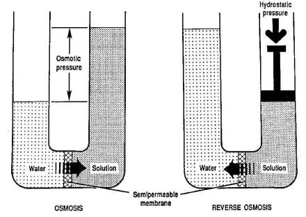 Natural osmosis and reverse osmosis. (Image courtesy of www.filterfast.com)