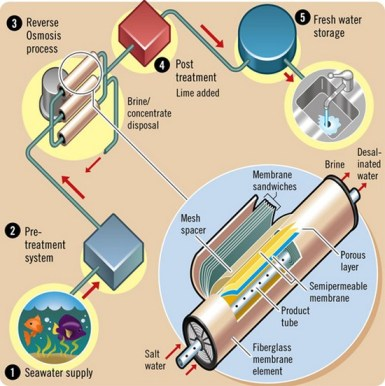 Although the illustration shows the desalination system for a reverse osmosis process, the key elements are largely the same for all desalination methods. (Image courtesy of OnEarth Magazine)